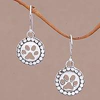 Sterling silver dangle earrings, 'Paw Circles' - Sterling Silver Paw Print Dangle Earrings from Bali