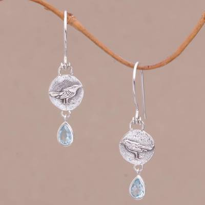 Blue topaz dangle earrings, 'Wistful Birds' - Blue Topaz and Sterling Silver Bird Earrings from Bali