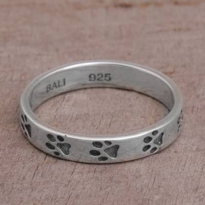 Sterling Silver Paw Print Motif Band Ring from Bali