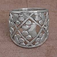 Sterling silver band ring, 'Paw Trails' - 925 Sterling Silver Paw Print Motif Band Ring from Bali