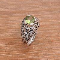 Peridot cocktail ring, 'Starling Romance' - Balinese Bird Theme Handcrafted Silver and Peridot Ring