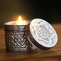Aluminum candle and holder, 'Burning Passion' - Embossed Aluminum Holder with Handcrafted Candle
