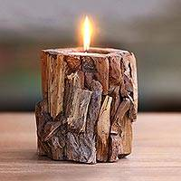 Teakwood candle and holder, 'Earthen Flame' - Artisan Crafted Teakwood Holder with Candle from Bali