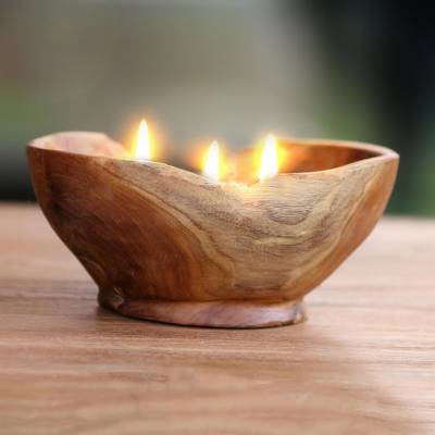 Teakwood candle and holder, 'Flame Shrine' - Teakwood Bowl Beeswax and Palm Wax Candle from Bali