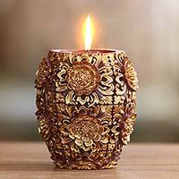 Candle, 'Floral Vase' (4.5 inch) - Gold Colored Floral Vase Shaped Candle from Bali (4.5 Inch)