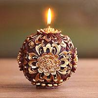 Round accent candle, 'Floral Orb' - Round Floral Candle with Gold Toned Floral Relief