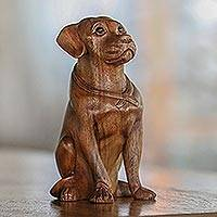 Wood sculpture, 'Begging Dog' - Hand-Carved Suar Wood and Onyx Dog Sculpture from Bali