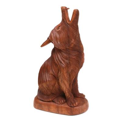 Wood sculpture, 'Howling Wolf' - Hand-Carved Suar Wood Howling Wolf Sculpture from Bali