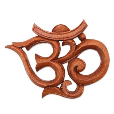 Wood relief panel, 'Trailing Om' - Hand Carved Wood Om Relief Panel with Vine Embellishments