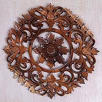 Wood relief panel, 'Corona Flower' - Handcrafted Circular Floral Relief Panel from Bali