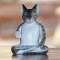 Wood sculpture, 'Nirvana Kitty' - Wood Meditating Cat Sculpture in Grey and White from Bali