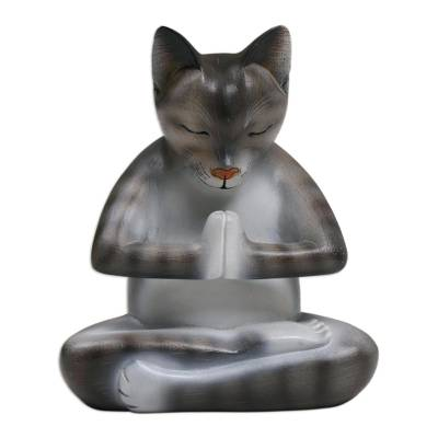 Wood sculpture, 'Meditating Kitty in Grey' - Wood Meditating Cat Sculpture in Grey and White from Bali