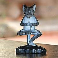 Wood sculpture, 'Yoga Kitty in Grey' - Wood Meditating Cat Sculpture in Grey and White from Bali