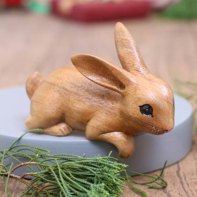 Wood sculpture, 'Curious Rabbit in Brown' - Handcrafted Suar Wood Rabbit Sculpture in Brown from Bali