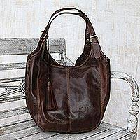Leather hobo bag, 'Mocha Vibes' - Handmade Dark Brown Leather Hobo Shoulder Bag from Bali