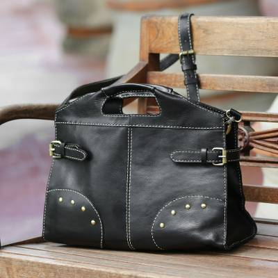 Leather handbag, 'Night Queen' - Black Leather Handbag with Strap and Brass Accents rom Bali