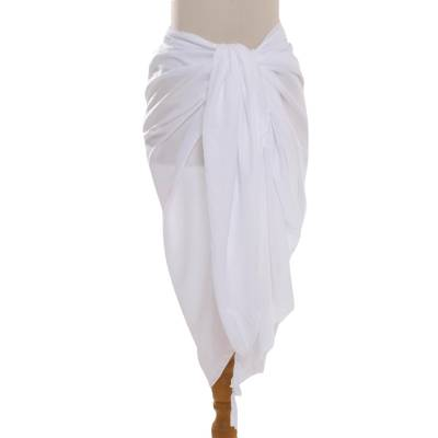 Rayon sarong, 'Tropical Breeze in White' - Handmade White 100% Rayon Sarong from Indonesia