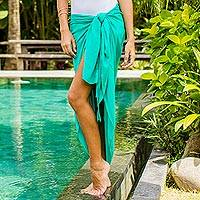Rayon sarong, 'Tropical Breeze in Turquoise' - Handmade Turquoise 100% Rayon Sarong from Indonesia