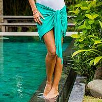Short rayon sarong, 'Paradise Breeze in Turquoise' - Handmade Turquoise 100% Rayon Short Sarong from Indonesia