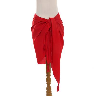 Rayon sarong, 'Paradise Breeze in Red' - Handmade Red 100% Rayon Sarong from Indonesia