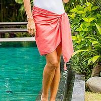 Rayon sarong, 'Paradise Breeze in Strawberry' - Handmade Pink 100% Rayon Short Sarong from Indonesia