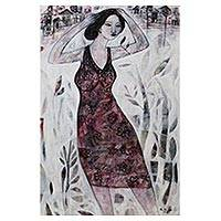 'The City Garden' - Expressionist Portrait of a Balinese Woman in a Sundress