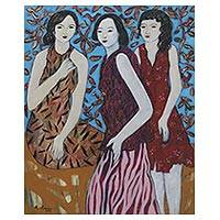 'Girls at the Garden' - Balinese Original Signed Portrait of Three Women