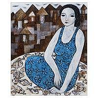 'Woman at the Village' - Moody Expressionist Portrait of a Balinese Woman in Blue