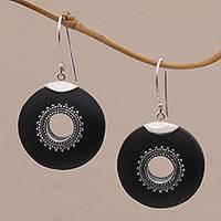Lava stone dangle earrings, 'Starlight Circles' - Sterling Silver and Lava Stone Dangle Earrings from Bali