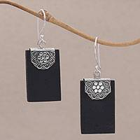 Lava stone dangle earrings, 'Bars of Midnight' - Rectangular Lava Stone and 925 Silver Earrings from Bali