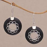 Lava stone dangle earrings, 'Wangi Rings' - Circular Lava Stone and Sterling Silver Earrings from Bali