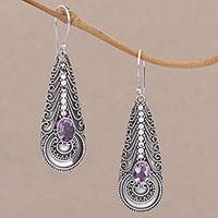 Amethyst dangle earrings, 'Temple Art' - Amethyst and Balinese Sterling Silver Earrings