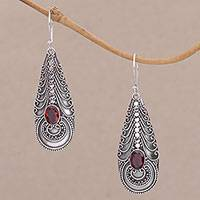 Garnet dangle earrings, 'Temple Art' - Garnet on Balinese Sterling Silver Earrings Crafted by Hand