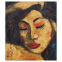 'Sleep Tight' - Signed Expressionist Painting of a Sleeping Woman from Bali