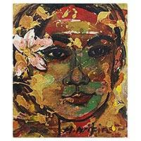 'Divine Balinese' - Signed Expressionist Painting of a Woman with a Flower