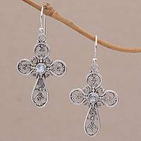 Blue topaz dangle earrings, 'Indonesian Cross' - Sterling Silver Peridot Openwork Cross Earrings from Bali