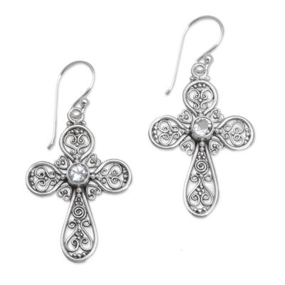 Sterling Silver Peridot Openwork Cross Earrings from Bali