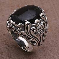 Onyx cocktail ring, 'Night Bloom' - Hand Crafted Floral Sterling Silver Onyx Cocktail Ring