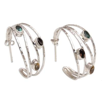 Multi-gemstone half-hoop earrings, 'Bold Majesty' - Multi-Gemstone and Sterling Silver Half-Hoop Earrings