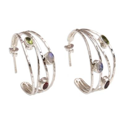 Multi-gemstone half-hoop earrings, 'Brilliant Majesty' - Multigemstone and Sterling Silver Half-Hoop Earrings