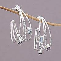 Multi-gemstone half-hoop earrings, 'Eternal Majesty' - Multigemstone and Sterling Silver Half Hoop Earrings