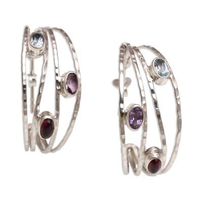 Multi-gemstone half-hoop earrings, 'Eternal Majesty' - Multigemstone and Sterling Silver Half Hoop Earrings