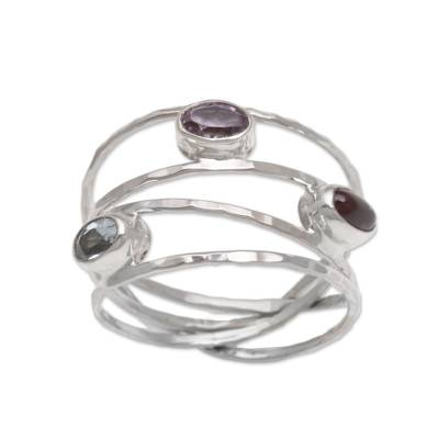 Multi-gemstone ring, 'Eternal Majesty' - Amethyst Blue Topaz and Garnet Multi-Band Ring from Bali