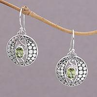 Peridot dangle earrings, 'Temple Watchers' - Peridot and Sterling Silver Dot Motif Earrings from Bali