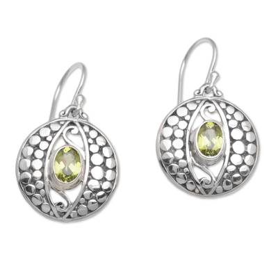 Peridot and Sterling Silver Dot Motif Earrings from Bali