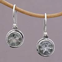 Prasiolite dangle earrings, 'Glittering Glance' - Circular Prasiolite and Sterling Silver Earrings from Bali