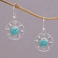 Turquoise dangle earrings, 'Turquoise Plains' - Circular Natural Turquoise Dangle Earrings from Bali