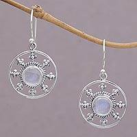Rainbow moonstone dangle earrings, 'Rainbow Plains' - Rainbow Moonstone and 925 Silver Circular Earrings from Bali