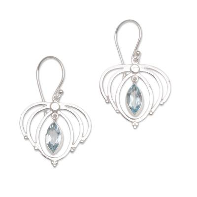 Teardrop Blue Topaz and Sterling Silver Earrings from Bali