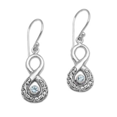 Blue Topaz and Sterling Silver Looping Earrings from Bali
